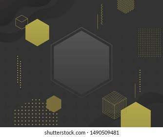 Vector abstract geometric banner with gold shapes.