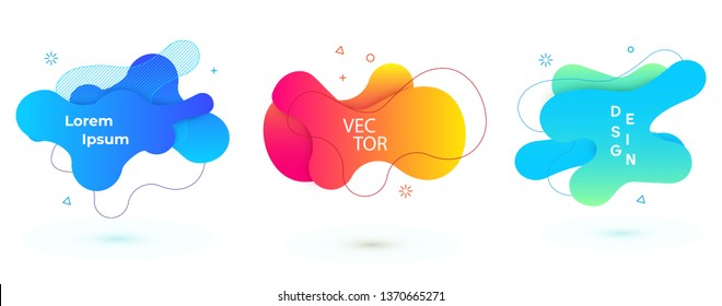 Vector abstract geometric banner set. Trendy liquid round forms. Modern vector template with gradient foг you design. Vector illustrations.