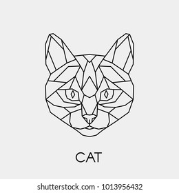 Vector. Abstract geometric cat's head. Linear polygon animal of the feline family.