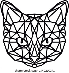 Vector Abstract geometric cat's head. Linear polygon animal feline.