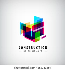 Vector abstract geometric construction, structure logo. Colorful 3d architecture, composition icon.