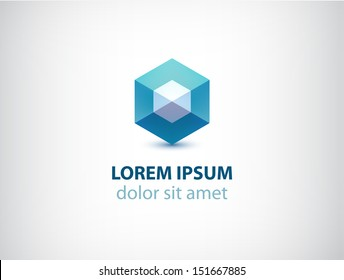 vector abstract geometric crystal logo for your company
