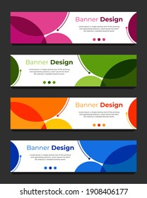 Vector abstract geometric design banner web template. Abstract header blue, green, orange, pink shape vector design. Abstract corporate business banner web template, horizontal advertising.