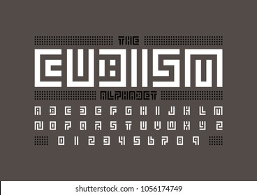 Vector of abstract geometric font and alphabet