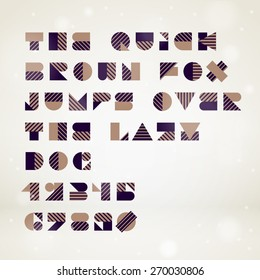 Vector abstract geometric font. High quality design element.