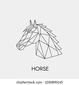 Vector. Abstract geometric horse head in low poly style. Linear polygon animal.