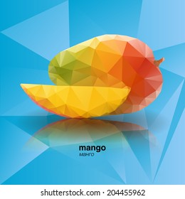 Vector abstract geometric mango. Origami style. From fruit set