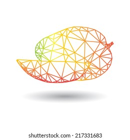 Vector abstract geometric mango. Origami style. From fruit set. Outline