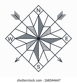 Vector abstract geometric navigation star or compass in vintage dark blue line with hatching and hipster arrows on white background