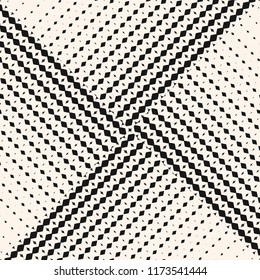 Vector abstract geometric seamless pattern with halftone triangle tiles. Black and white monochrome background with gradient transition effect. Asymmetric repeatable design for decor, covers, print