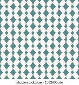 Vector abstract geometric seamless pattern. Teal and white texture with diamond shapes, rhombuses. Simple graphic ornament. Plaid background. Repeated design for decoration, textile, fabric, cloth