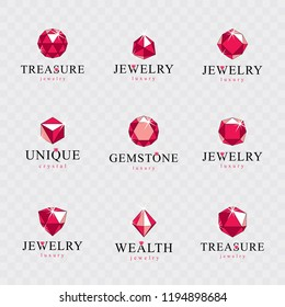 Vector abstract geometric shapes for use in advertisement design concept. Set of vector glossy red ruby gems.
