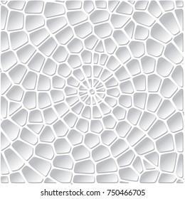 Vector Abstract Geometric Spiral Voronoi Background. Trendy Irregular Voronoi Lattice Polygonal Mosaic Template Pattern.