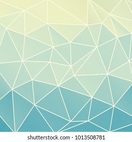 Vector abstract geometric teal blue and beige background consisting of colored triangles and light mesh. Square format.