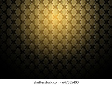 Vector abstract gold exotic Thai seamless pattern background design, inclusive of pattern swatch