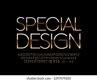 Vector abstract Golden Artistic Design Alphabet. Set of Elegant Letters, Numbers and Symbols.