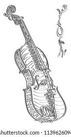Vector abstract graphic arts sketch of drawing violin (black ink).