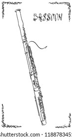 Vector abstract graphic arts sketch of drawing bassoon (wind musical instrument).