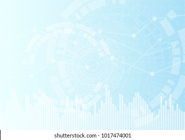 Vector abstract graphic design. Blue geometric technological background with elements of financial graph with trend chart and histogram in the stock market.