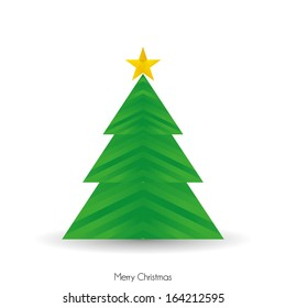 Vector Abstract Green Christmas Tree Isolated