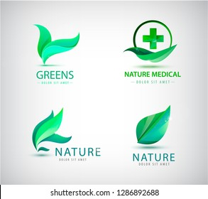 Vector abstract green leaf logo, leaves icons. garden, Plant, nature and eco. Ecology Happy life Logotype concept icon. Natural cosmetics, food, healthcare
