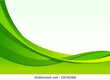 vector abstract green waves background - Separate layers for easy editing