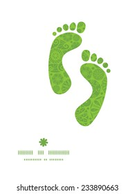 Vector abstract green and white circles footprints silhouettes pattern frame
