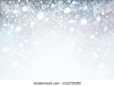 Vector  abstract, grey, bokeh background. Christmas,  winter snowfall background.