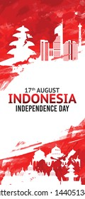 Vector abstract grunge watercolor of 17th August Indonesia Independence Day concept. Illustration of flag for poster.