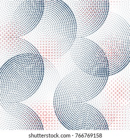 Vector Abstract Hahlftone Effect background with different shapes. Modern Geometric Colorful Bright Halftone Design Texture.