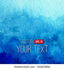 Vector abstract hand drawn watercolor background. Blue watercolor banner template. Painting. Watercolor splash. Vector illustration with empty space for your text.