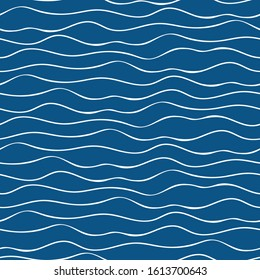 Vector abstract hand drawn white doodle ocean waves. Seamless geometric pattern on navy blue background. Great for marine, nautical themed products, spa, wellness, beauty, stationery, giftwrap