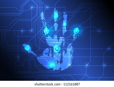 vector abstract hand with scan, electronic technology background
