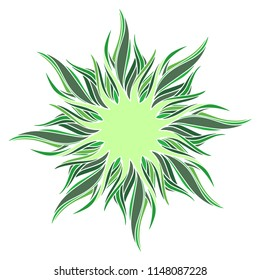 Vector abstract hand-drawn ornament in the form of spiral intertwined rays in shades of green. Isolated clipart element on white background. Stylized frame for Botanical design.
