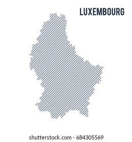 Vector abstract hatched map of Luxembourg with oblique lines isolated on a white background. Travel vector illustration.