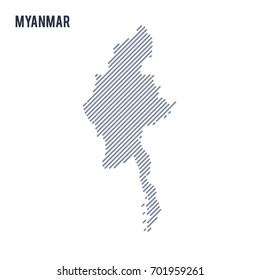 Vector abstract hatched map of Myanmar with oblique lines isolated on a white background. Travel vector illustration.