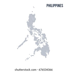 Vector abstract hatched map of Philippines with spiral lines isolated on a white background. Travel vector illustration.