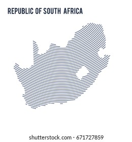 Vector abstract hatched map of Republic of South Africa with curve lines isolated on a white background. Travel vector illustration.