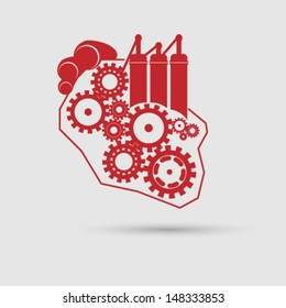 Vector abstract heart concept with gears and engine illustration