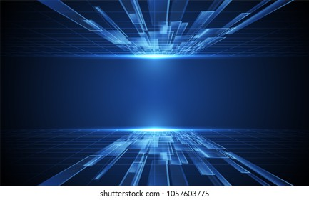Vector Abstract high technology lines connect of future on dark blue background
