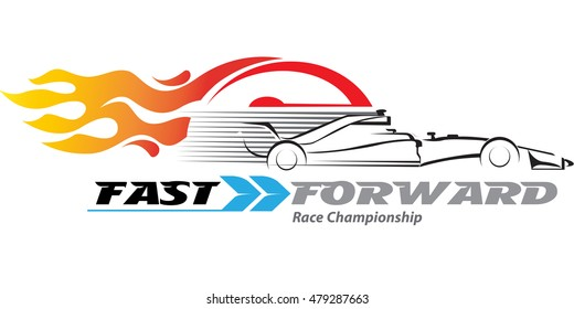 Vector abstract, high-speed racing car with a speedometer and a fire burning in the back.