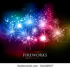 Vector abstract Holiday Fireworks Background for your design