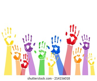 Vector abstract horizontal background with bright multicolored paint hand prints,isolated on the white