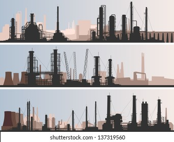 Vector abstract horizontal banner: industrial part of city with factories, refineries and power plants.
