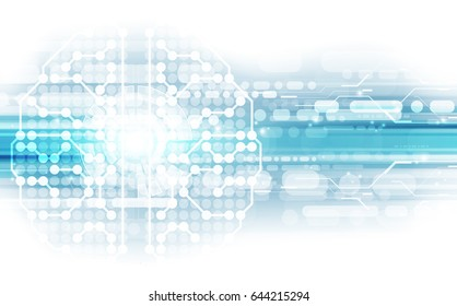 Vector abstract human brain on technology background represent artificial intelligence concept, illustration