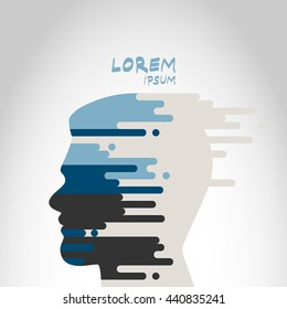 Vector abstract human head silhouette logo isolated on abstract background