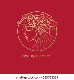 Vector abstract icon. Image of head of beautiful girl with wreath in circle. Template logo pattern in trend of modern linear style. Beauty symbol. Design with organic motifs of flowers and leaves.