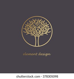 Vector abstract icon. The modern concept of gold foil printing on black background. Image golden tree in a circle. Vintage. Design organic natural motifs.