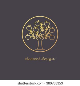 Vector abstract icon. The modern concept of gold foil printing on black background. Golden tree in a circle. Vintage. Design organic natural motifs. Image of apple tree with fruits.