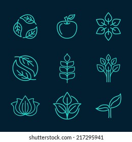 Vector abstract icons - outline monograms - nature symbols - concept for organic shop - abstract design element - logo design template